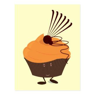 Smiling cupcake with orange frosting postcard