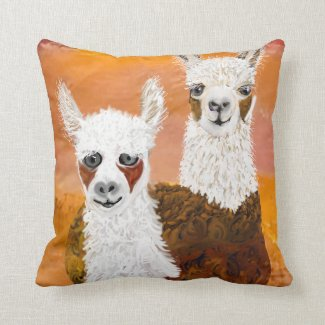 Smiling, Curious Llamas against Golden Sky Throw Pillow