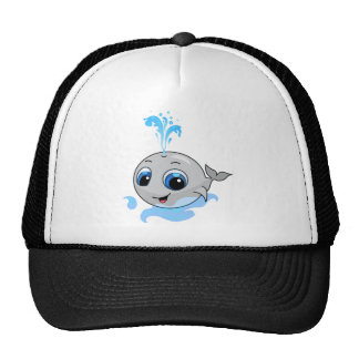Smiling cute baby whale trucker hat