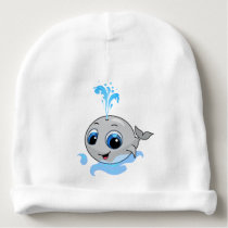 Smiling cute funny baby whale baby beanie