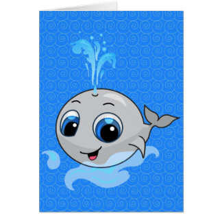 Smiling cute funny baby whale card