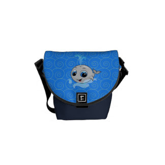 Smiling cute funny baby whale messenger bag