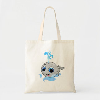 Smiling cute funny baby whale tote bag