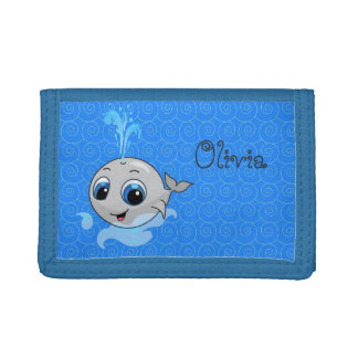 Smiling cute funny baby whale tri-fold wallet