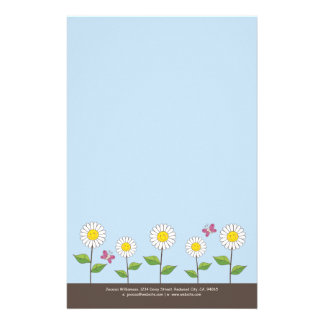 Smiling Daisies & Butterflies Note Paper
