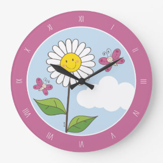 Smiling Daisy & Butterflies with Roman Numerals Large Clock