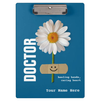 Smiling Daisy Custom Name Clipboard for Doctors
