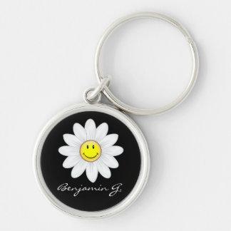 Smiling Daisy Flower Keychain