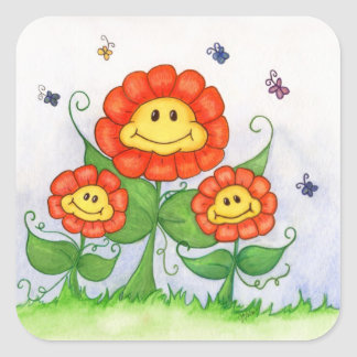 Smiling Daisy Flowers with butterflies Square Sticker