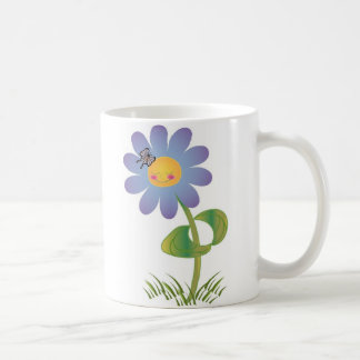 Smiling Daisy with Butterfly Coffee Mug