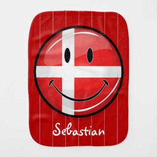 Smiling Denmark Danish Flag Burp Cloths