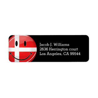 Smiling Denmark Flag Label