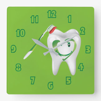 Smiling Dental Cartoon Tooth Toothbrush Green Square Wall Clock