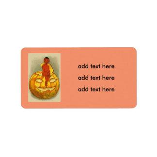 Smiling Devil Jack O' Lantern Pumpkin Label