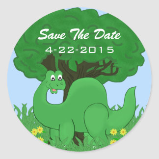 Smiling Dinosaur Save The Date Stickers
