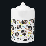"""Smiling Dog Bernese Mountain Dog Teapot<br><div class=""""desc"""">Smiling Dog Bernese Mountain Dog - Seamless pattern with playful illustration of a dog and paw prints. The smiling dog is a great gift for dog owners.</div>"""