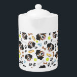 "Smiling Dog Bernese Mountain Dog Teapot<br><div class=""desc"">Smiling Dog Bernese Mountain Dog - Seamless pattern with playful illustration of a dog and paw prints. The smiling dog is a great gift for dog owners.</div>"
