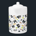 """Smiling Dog Border Collie Teapot<br><div class=""""desc"""">Smiling Dog Border Collie - Seamless pattern with playful illustration of a dog and paw prints. The smiling dog is a great gift for dog owners.</div>"""