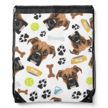Smiling Dog Boxer Drawstring Bag