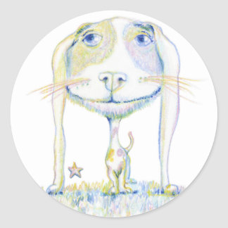 Smiling Dog Classic Round Sticker