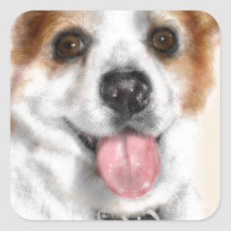 Smiling dog with floppy ears square sticker