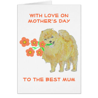 Smiling Dog with Flowers Mother's Day Card