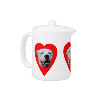 Smiling Dogo Argentino Teapot