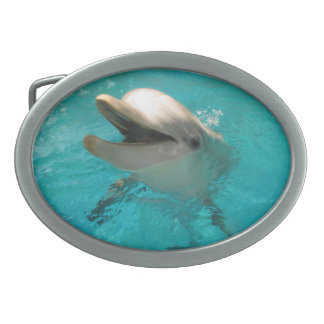 Smiling Dolphin Oval Belt Buckle