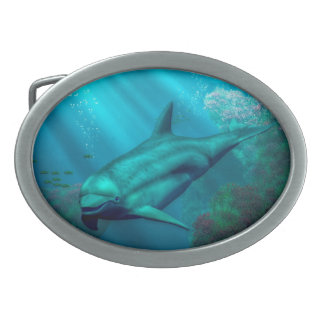 Smiling Dolphin Oval Belt Buckles