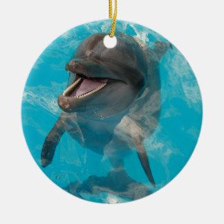 Smiling Dolphin Ceramic Ornament