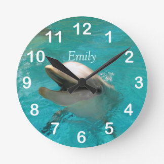 Smiling Dolphin Round Clock