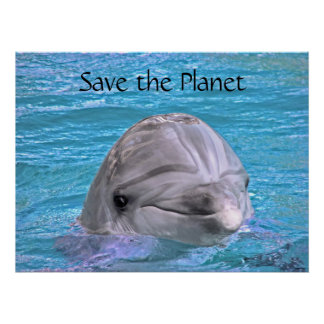 Smiling Dolphin - Save the Planet Poster