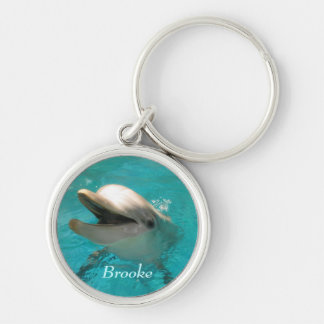 Smiling Dolphin Silver-Colored Round Keychain