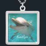 """Smiling Dolphin Silver Plated Necklace<br><div class=""""desc"""">This design features a photo of a smiling dolphin in aqua waters.  Customize with your name.</div>"""