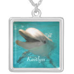 Smiling Dolphin Square Pendant Necklace