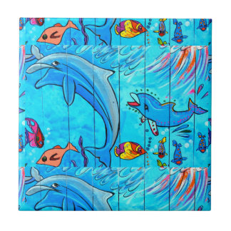 smiling dolphins blue tile