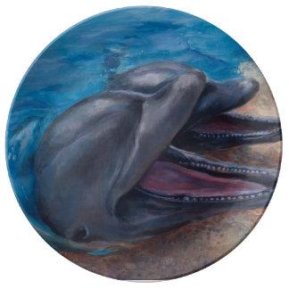 Smiling dolphins porcelain plate