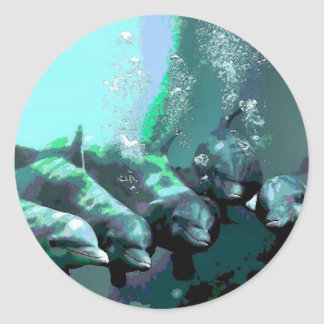 Smiling Dolphins Classic Round Sticker