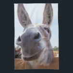 """Smiling Donkey Kitchen Towel<br><div class=""""desc"""">This friendly donkey is looking for a handout or maybe a scratch behind the ear. His curiosity led him to find my camera looking up at him. His smile on a kitchen towel is sure to be a conversation starter. Whether you like donkeys, democrats, or making fun of donkeys or...</div>"""