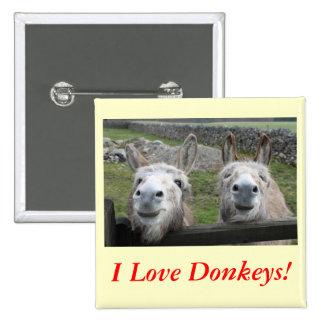Smiling Donkeys! Pinback Button