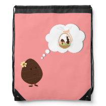 Smiling Easter egg thinking of an Easter basket Drawstring Backpack