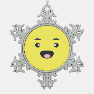 Smiling Emoji Snowflake Pewter Christmas Ornament