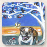 smiling English Bulldog butterfly tree painting Coasters