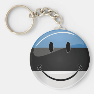 Smiling Estonian Flag Keychain