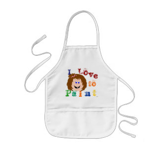 Smiling Face Brown hair girl Painting Apron