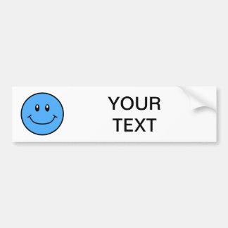 Smiling Face Bumper Sticker Blue 0001