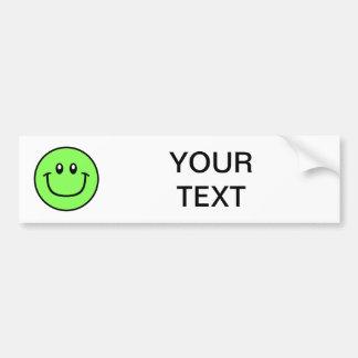 Smiling Face Bumper Sticker Green 0003