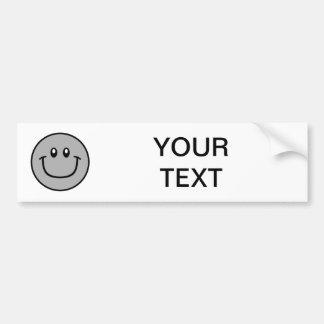 Smiling Face Bumper Sticker Grey 0003