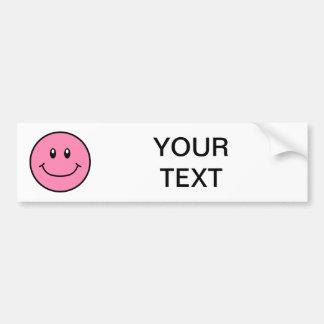 Smiling Face Bumper Sticker Pink 0001