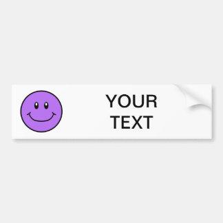 Smiling Face Bumper Sticker Purple 0001